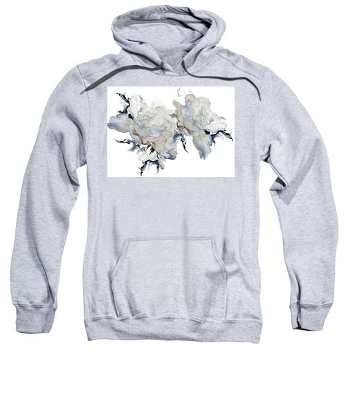 Sweatshirt featuring the painting Shades Of White Peony by Hanne Lore Koehler