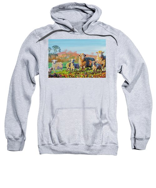 Sheep And Lambs In Devon Landscape Bright Colors Sweatshirt