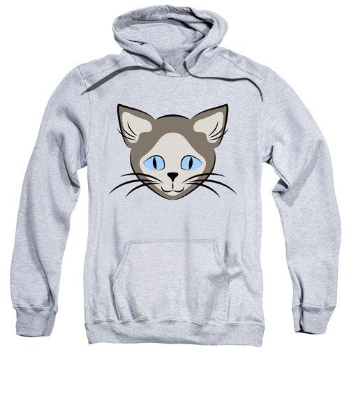 Siamese Cat Face With Blue Eyes Dark Sweatshirt