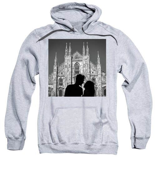 Silhouette Of Young Couple Kissing In Front Of Milan's Duomo Cathedral Sweatshirt