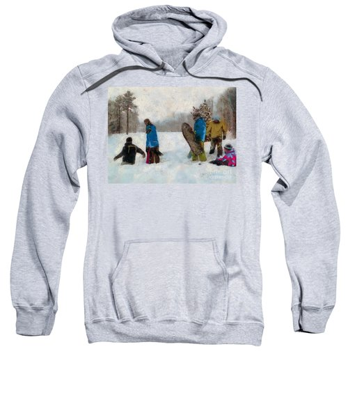 Six Sledders In The Snow Sweatshirt
