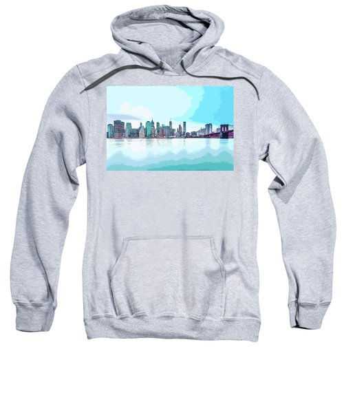 Skyline Of New York City, United States In Blues Sweatshirt