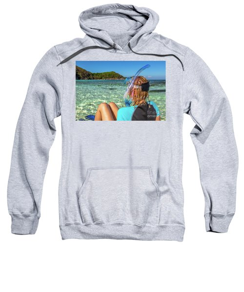 Snorkeler Relaxing On Tropical Beach Sweatshirt