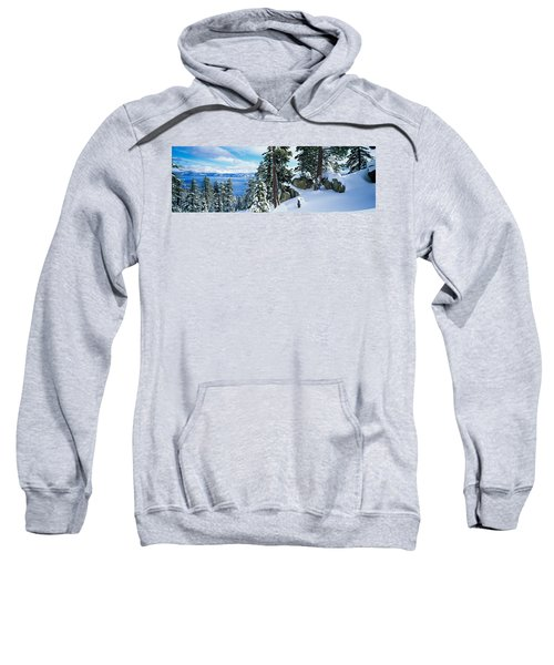 Snow Covered Trees On Mountainside Sweatshirt