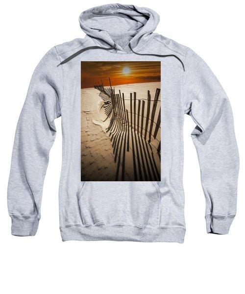 Snow Fence At Sunset Sweatshirt