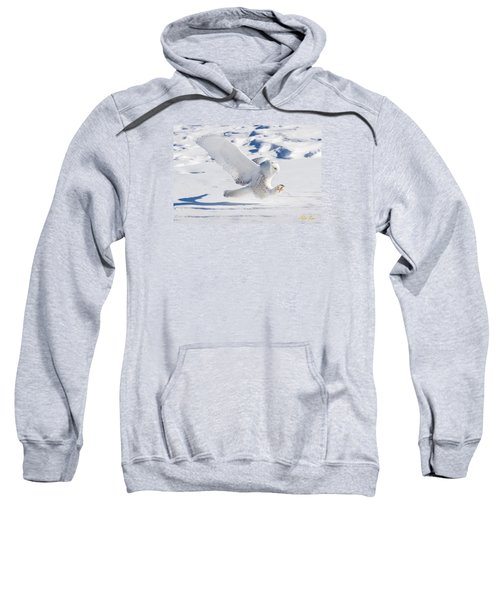 Sweatshirt featuring the photograph Snowy Owl Pouncing by Rikk Flohr