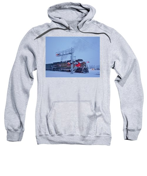 Snowy Train Crossing  Sweatshirt