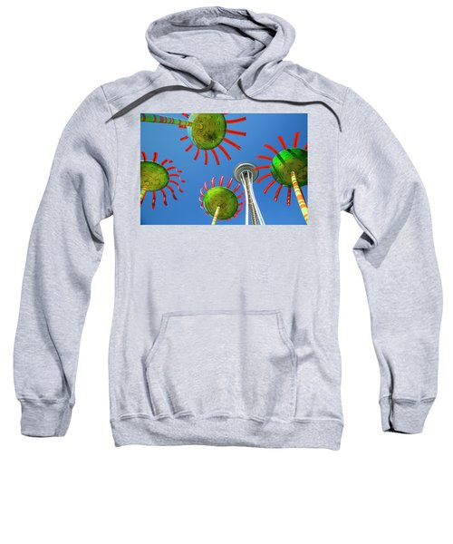 Sweatshirt featuring the photograph Sonic Bloom In Seattle Center by Adam Romanowicz