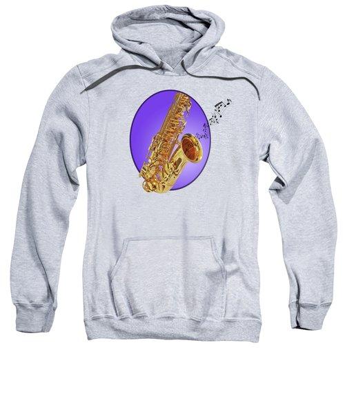 Sounds Of The Sax In Purple Sweatshirt by Gill Billington
