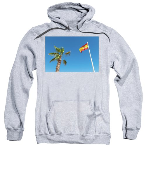 Spanish Flag And Palm Tree In The Blue Sky Sweatshirt by GoodMood Art