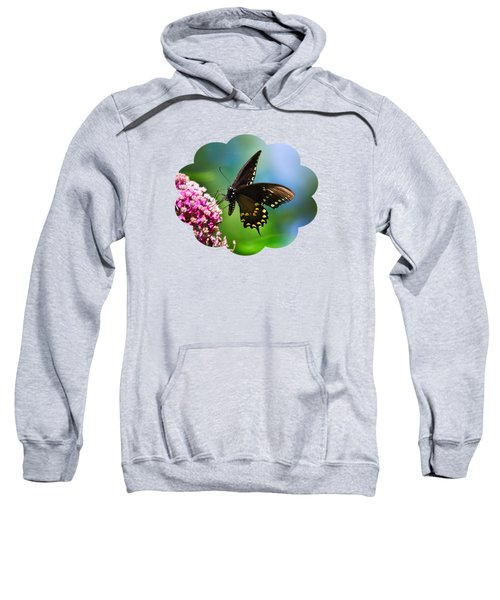 Spicebush Swallowtail Butterfly On Pink Flower Sweatshirt