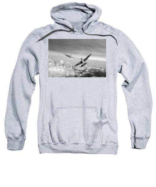 Sweatshirt featuring the photograph Spitfire Attacking Heinkel Bomber Black And White Version by Gary Eason