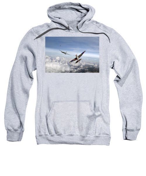 Sweatshirt featuring the photograph Spitfire Attacking Heinkel Bomber by Gary Eason