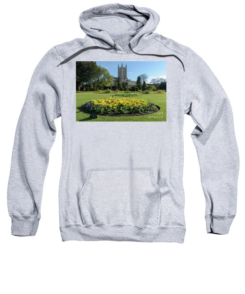 St Edmundsbury Cathedral With Flower Garden In Foreground Sweatshirt