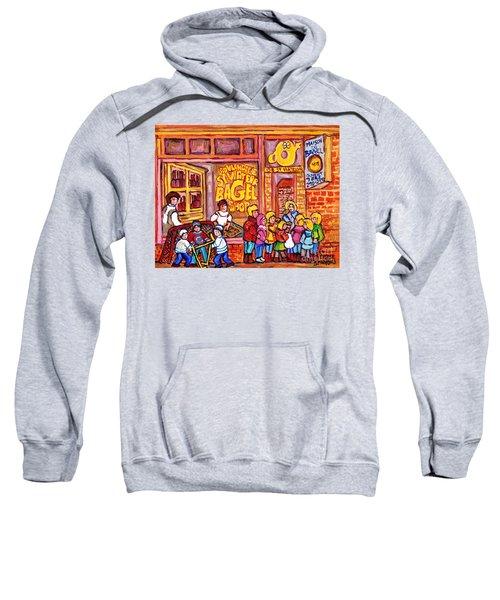 St Viateur Bagel Shop Montreal Art Kids And Bagels Hockey Fun C Spandau Canadian City Scene Painting Sweatshirt