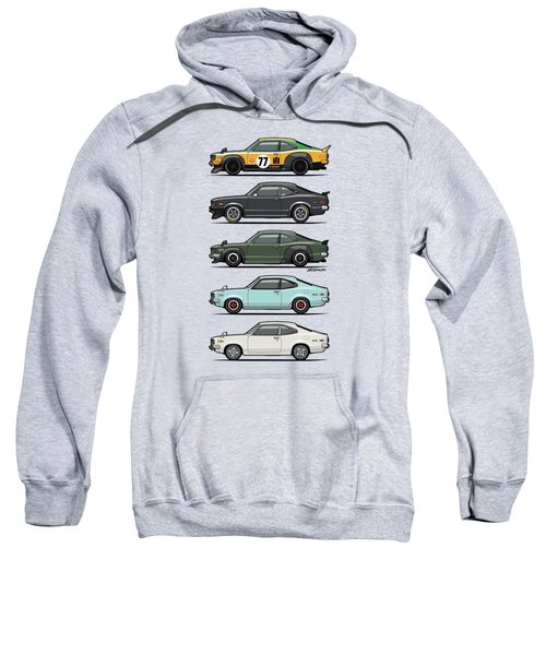 Stack Of Mazda Savanna Gt Rx-3 Coupes Sweatshirt