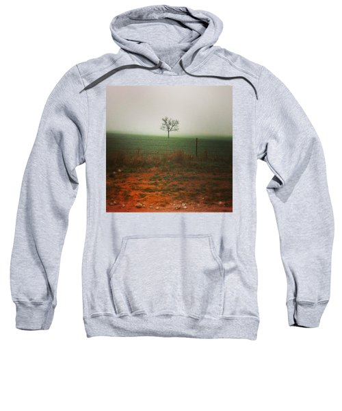 Standing Alone, A Lone Tree In The Fog. Sweatshirt