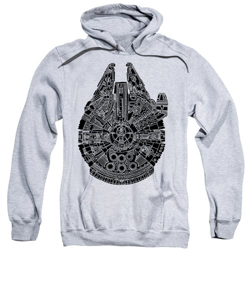 Star Wars Art - Millennium Falcon - Black Sweatshirt by Studio Grafiikka
