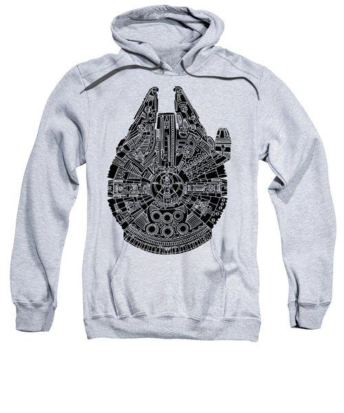 Star Wars Art - Millennium Falcon - Black Sweatshirt