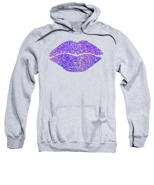 Stardust Kiss, Purple Hologram Lipstick On Pouty Lips, Fashion Art Sweatshirt