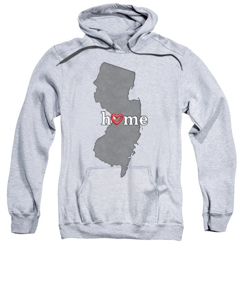 State Map Outline New Jersey With Heart In Home Sweatshirt