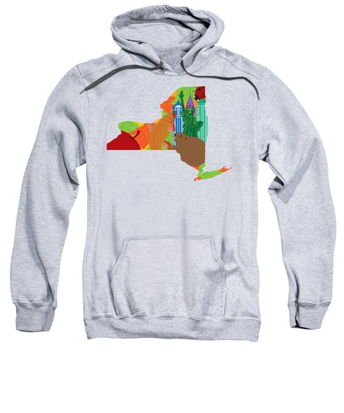 State Of New York Official Map Symbols Sweatshirt by Jit Lim
