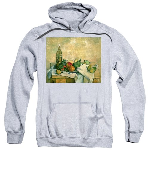 Still Life With Bottle Of Liqueur Sweatshirt by Paul Cezanne