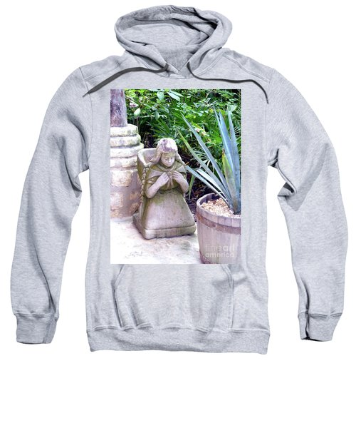Sweatshirt featuring the photograph Stone Girl With Basket And Plants by Francesca Mackenney
