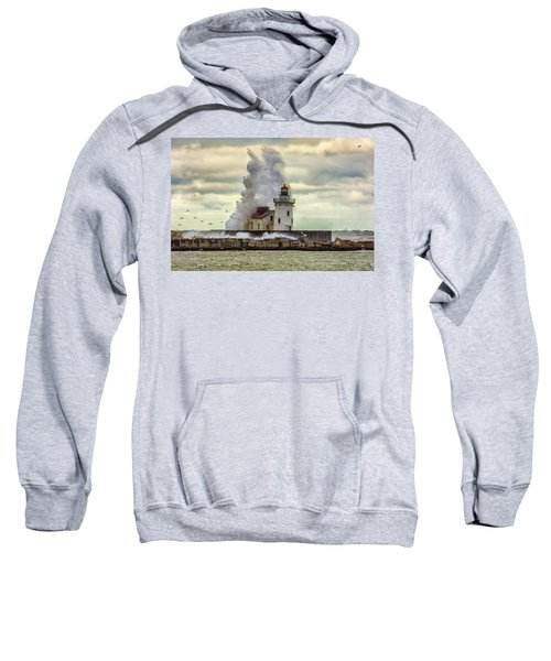 Storm Waves At The Cleveland Lighthouse Sweatshirt