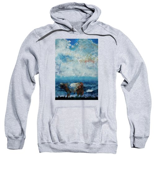Storms Coming - Belted Galloway Cow Under A Colorful Cloudy Sky Sweatshirt