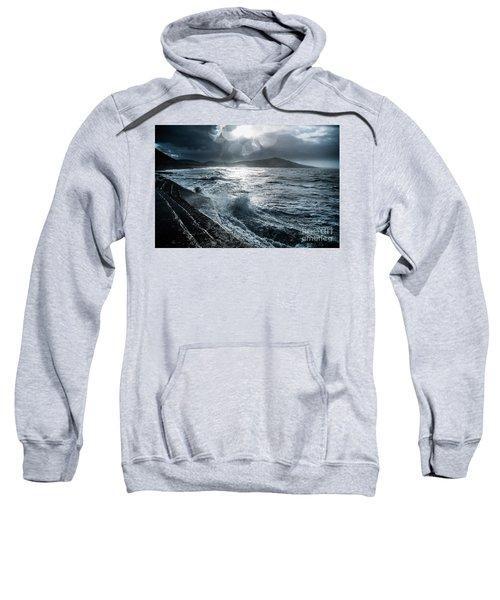 Stormy Seas At Tanybwlch Aberystwyth Sweatshirt
