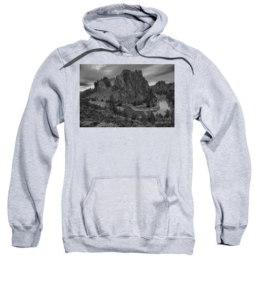 Stormy Skies Over Smith Rock - Black And White Sweatshirt
