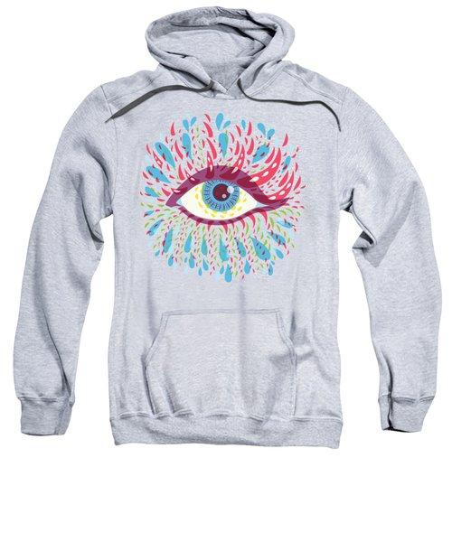 Strange Blue Psychedelic Eye Sweatshirt by Boriana Giormova