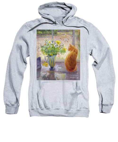 Striped Jug With Spring Flowers Sweatshirt by Timothy Easton