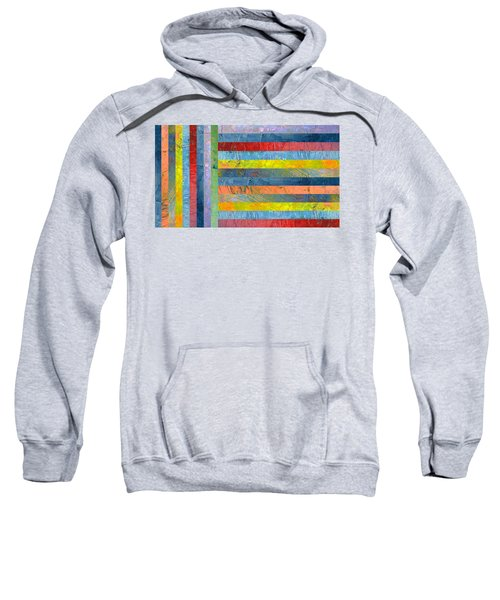 Stripes With Blue And Red Sweatshirt by Michelle Calkins