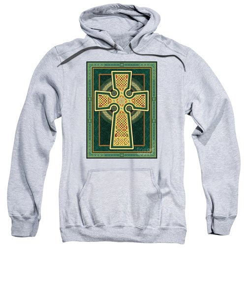 Stylized Celtic Cross In Green Sweatshirt
