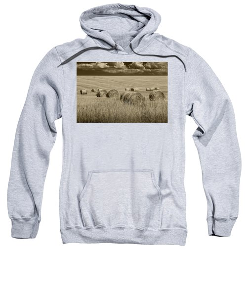 Summer Harvest Field With Hay Bales In Sepia Sweatshirt