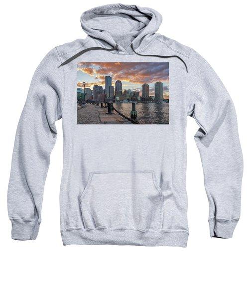 Summer Sunset At Boston's Fan Pier Sweatshirt