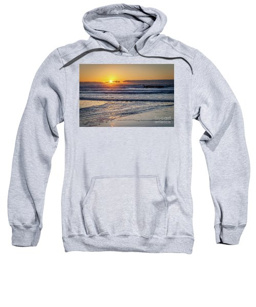 Sun Behind Clouds With Beach And Waves In The Foreground Sweatshirt