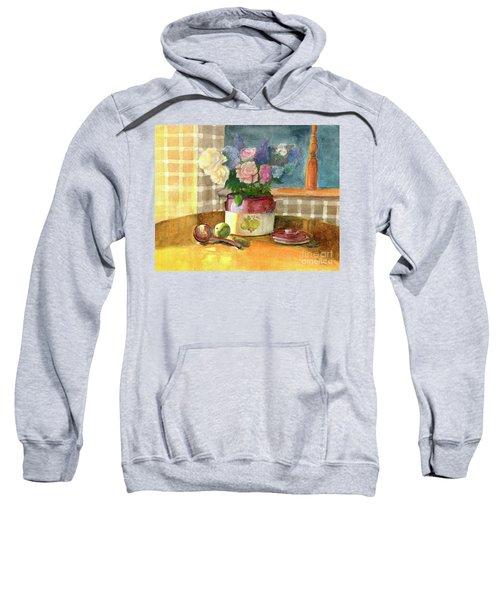Sunday Morning And Roses-watercolor Sweatshirt