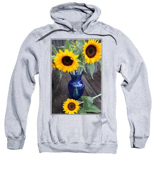 Sunflowers And Blue Vase - Still Life Sweatshirt