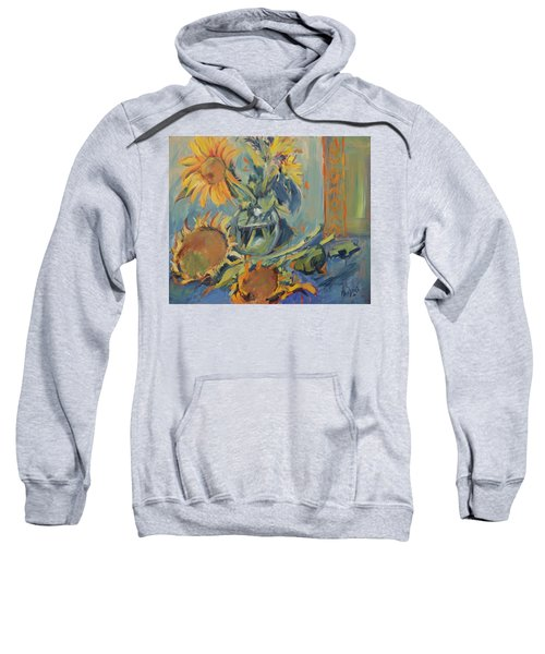 Sunflowers Fresh And Dried With Vase Sweatshirt