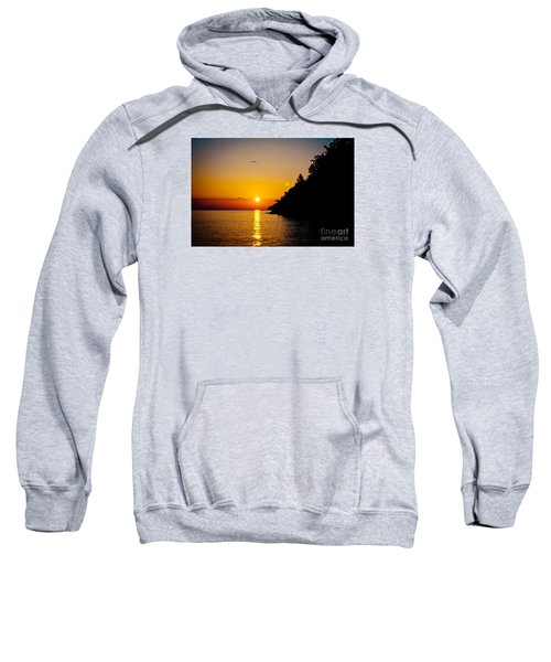 Sunrise And Seascape Orange Color Sweatshirt