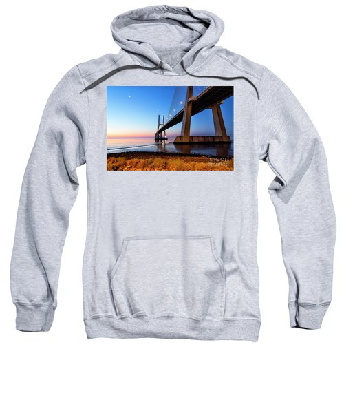Sunrise At Lisbon, Vasco Da Gama Bridge Sweatshirt