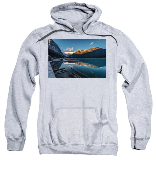 Sunrise At The Canoe Shack Of Lake Louise Sweatshirt
