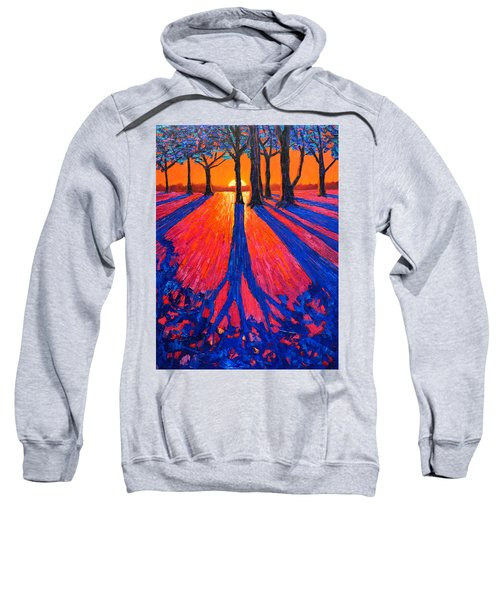Sunrise In Glory - Long Shadows Of Trees At Dawn Sweatshirt