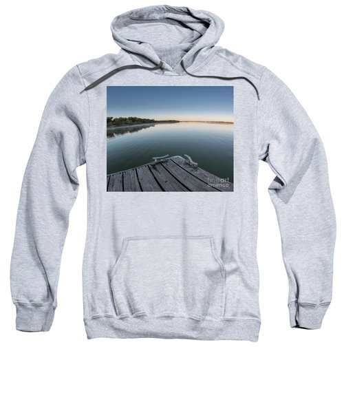 Sunrise On A Clear Morning Over Large Lake With Fog On Top, From Sweatshirt