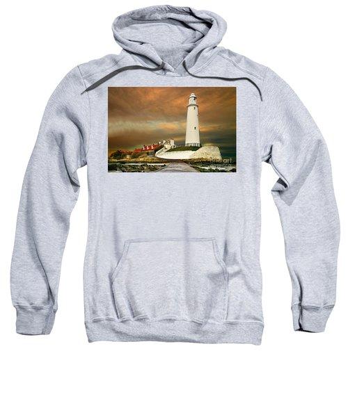 Sunset At Saint Mary's Lighthouse Sweatshirt