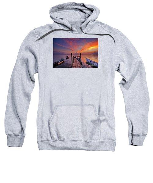 Sunset At The Panajachel Pier On Lake Atitlan, Guatemala Sweatshirt