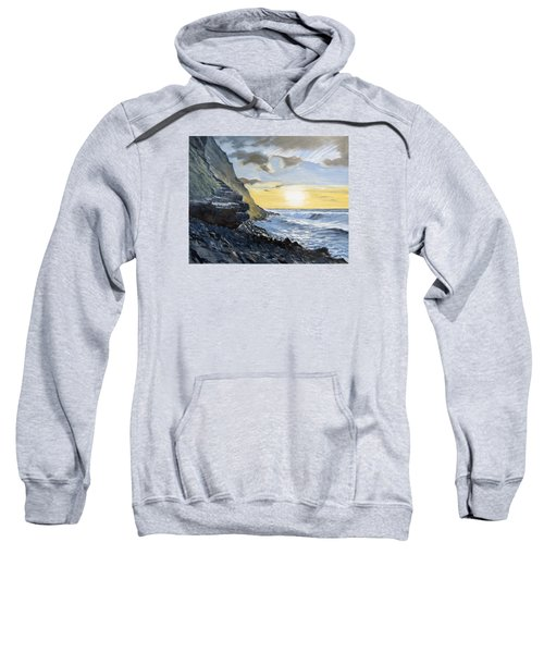 Sweatshirt featuring the painting Sunset At Warren Point Duckpool by Lawrence Dyer
